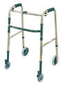 Deluxe Folding Walking Frame with Front Castors - Rear Wheels
